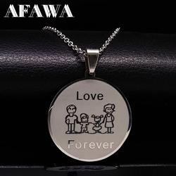 Love family choker necklace for women cute girl mama stainless steel necklaces pendants silver color neckless.jpg 250x250