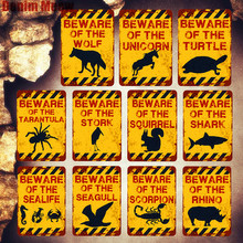 BEWARE OF SHARK Plaque Shabby Chic Metal Tin Signs Garden Farm Zoo Rat Sealife Wall Art Posters Wolf Painting Decor MN98