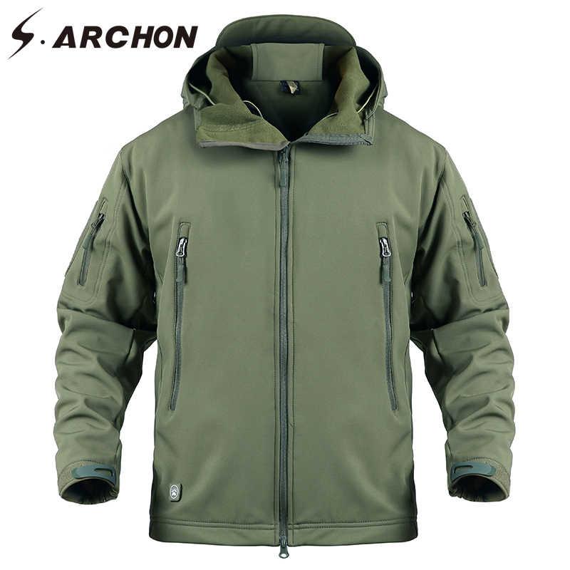 S. ARCHON мягкая оболочка Военная ветровка куртка мужская темно-синяя водостойкая тактическая куртка пальто Мужская толстовка ветрозащитная флисовая куртка