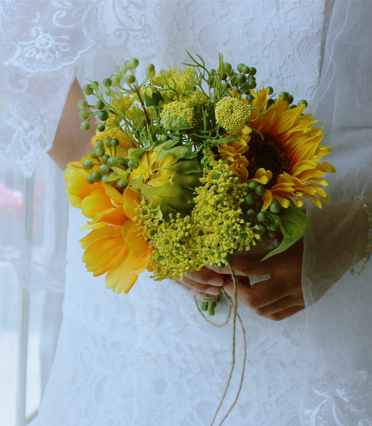 Yellow sunflowers Buquet For Brides Wedding Outside Wedding Artificial Wedding flowers Bridesmaid flowers de noiva Bouquets