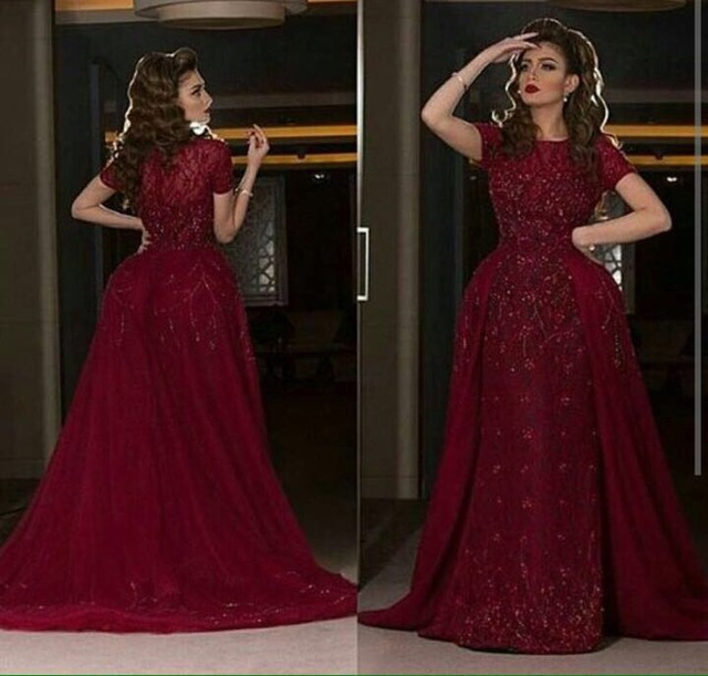 cc4bed413f5 Abendkleider 2017 Dark Red Lace Short Sleeve A-Line Long Evening Dresses  Plus Size O