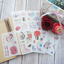 6 Sheets Yes We Are Fall In Love Heart Design Washi Paper Sticker As Scrapbooking DIY Wedding Gift Packing Decoration Tag