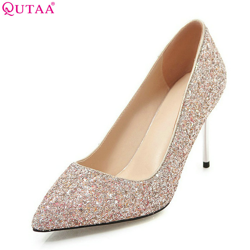 QUTAA 2018 Women Pumps Thin High Heel Pointed Toe Fashion Women Shoes Platform Slip on  Ladies Wedding Pumps Size 34-43 nesimoo 2018 women pumps pointed toe thin high heel genuine leather butterfly knot ladies wedding shoes slip on size 34 39