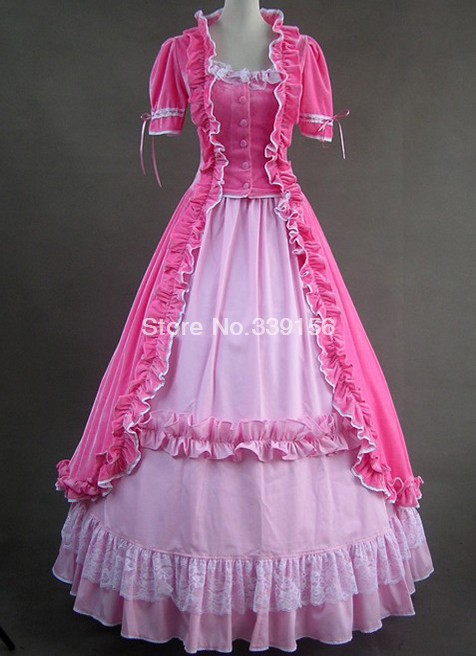 New Arrival Sweet pink long Gothic Vitoria dress Vintage Party Dress For Women