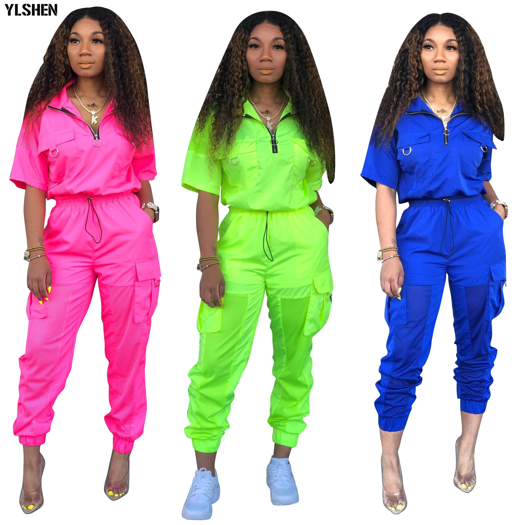 Neon Green 2 Two Piece Set Women Tracksuit Festival Clothes Plus Size Summer Outfits Tops +Pants Sweat Suit Matching Sets 2020