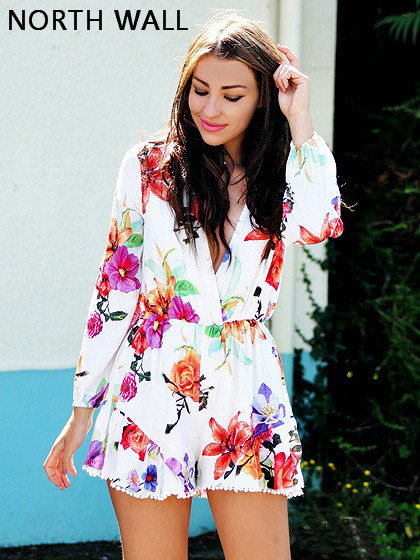 North Wall summer plus size v neck playsuits 2018 chiffon print floral