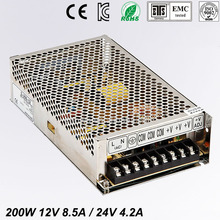 цена на Best quality double sortie 12V 24V 200W Switching Power Supply Driver for LED Strip AC100-240V Input to DC 12V 24V free shipping