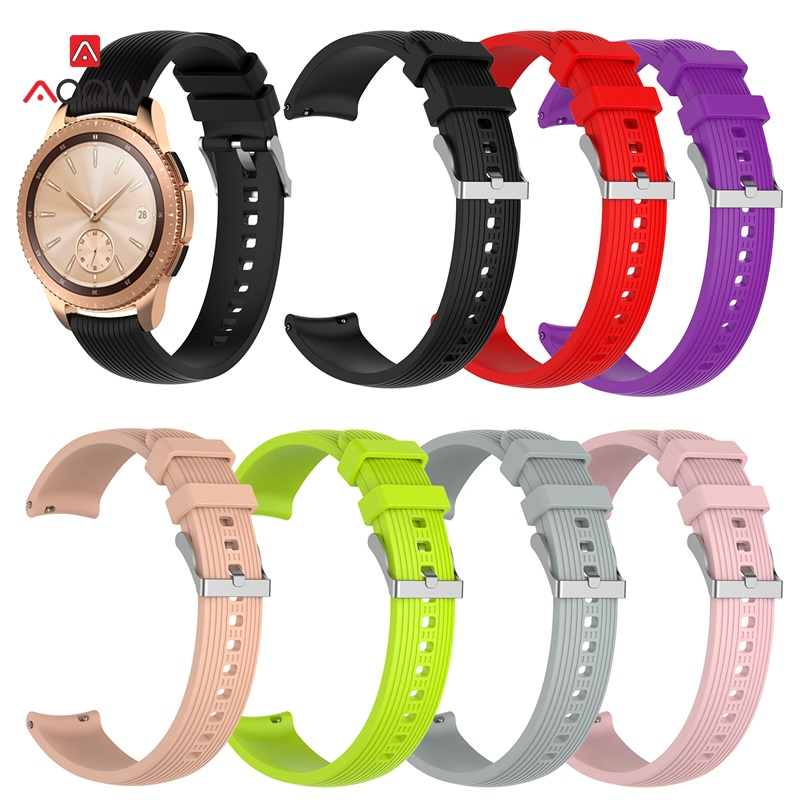 20mm Silicone Watchband For Samsung Galaxy Watch 42mm Version Pink Black Red Striped Bracelet Band Strap For SM-R180 Gear Sport