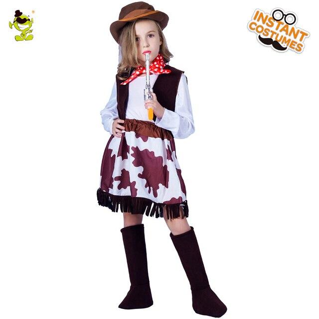 116b6707275b5 Дети Западный Прохладный Женские ковбойские костюмы с шляпой Хэллоуин  вечерние карнавал классический Cowpoke ролевые игры одежда