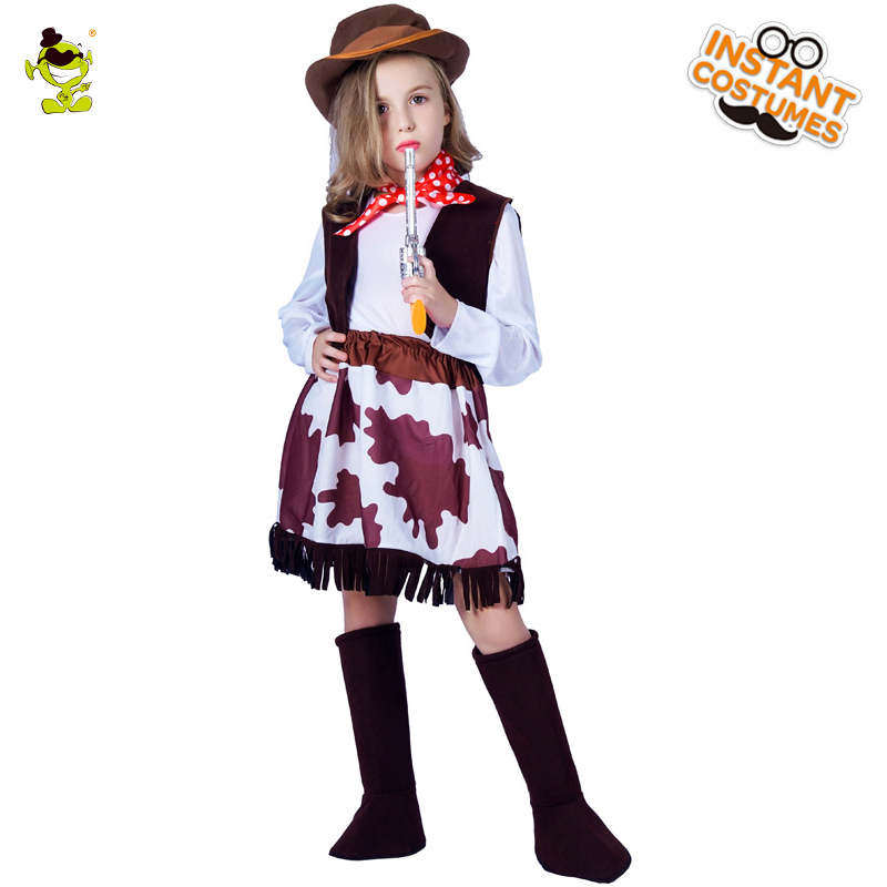 Kids Western Cool Cowgirl Costumes with Hat Halloween Party Carnival Classical Cowpoke Role-play clothing Purim Holiday