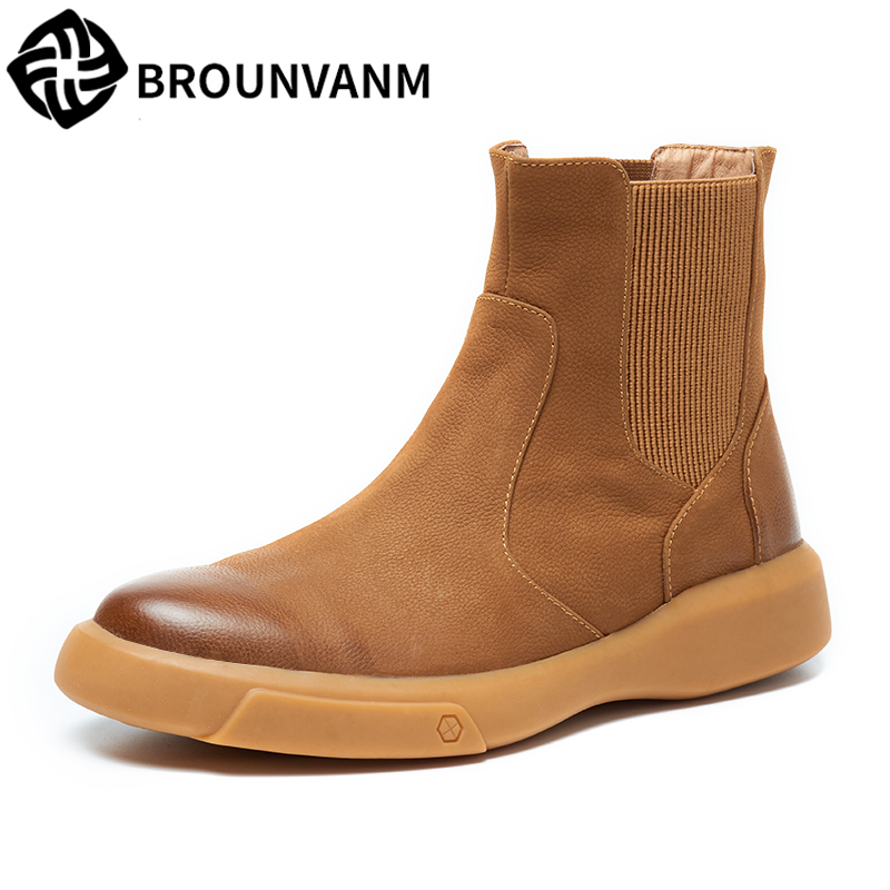 все цены на The new 2018 Chelsea boots male leather boots tidal current British Martin boots male high help Martin boots, leather shoes men онлайн