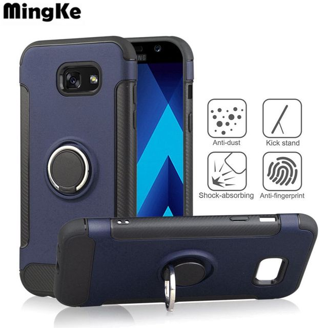 Fashion PC TPU For Samsung galaxy A5 2017 Case With Finger Ring For Samsung A7 2017 Case Bracket For Samsung A3 2017 Phone Cover