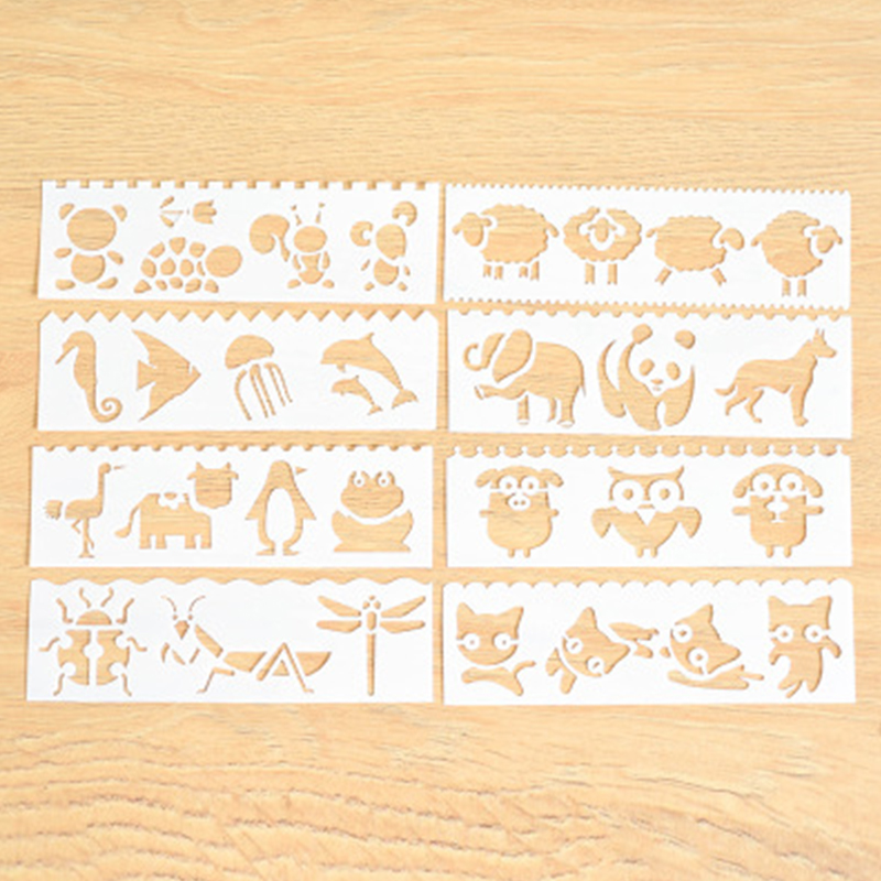 8 Pcs/lot Animal Cat Layering Stencils For Walls Painting Drawing Ruler DIY Scrapbooking Stamp Decoration Embossing Crafts