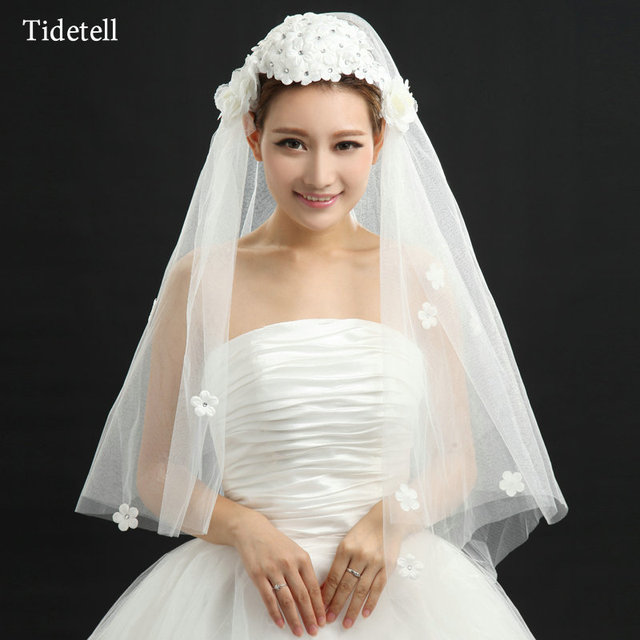 White Soft Tulle Flowers Beaded Sparkling Wedding Veils Modern Accessorizes Free Shipping Simple Chic