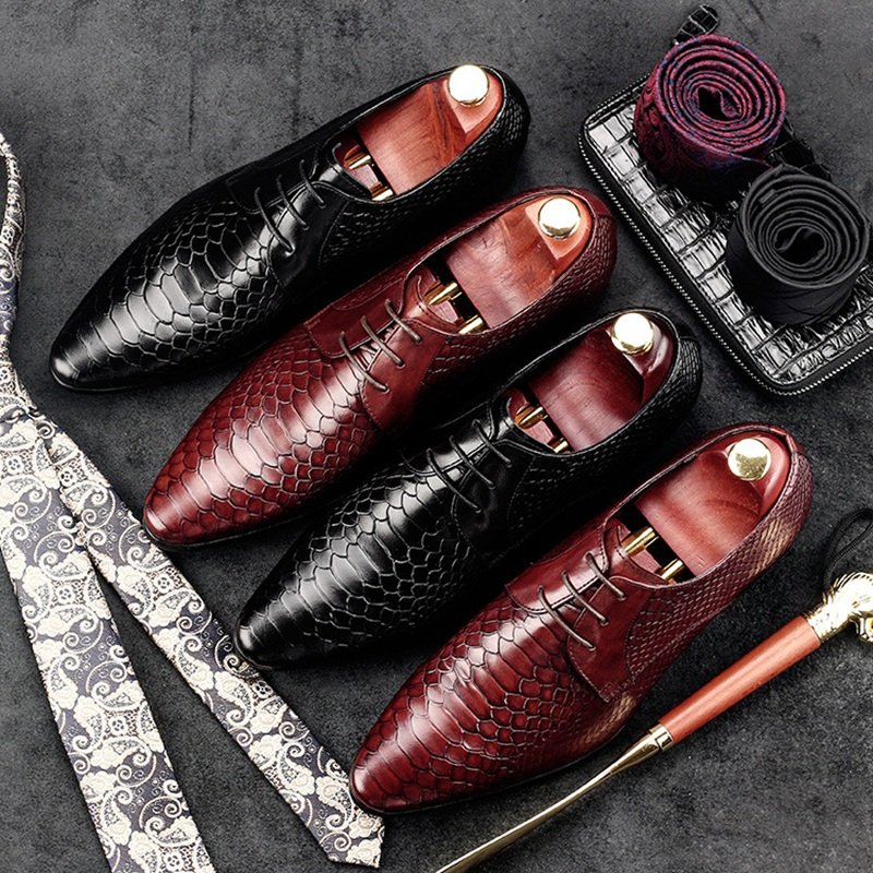 Elegant Formal Man Dress Shoes Genuine Leather Designer Alligator Oxfords Luxury Brand Pointed Toe Men's Handmade Footwear GD62 2016 new fashion genuine leather formal brand man print oxfords men s derby pointed toe monk strap dress rubber shoes glm589