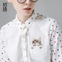 Toyouth New Arrival Winter Shirt Turn Down Collar Ladies Blouses Long Sleeve Shirt Female Polka Dot