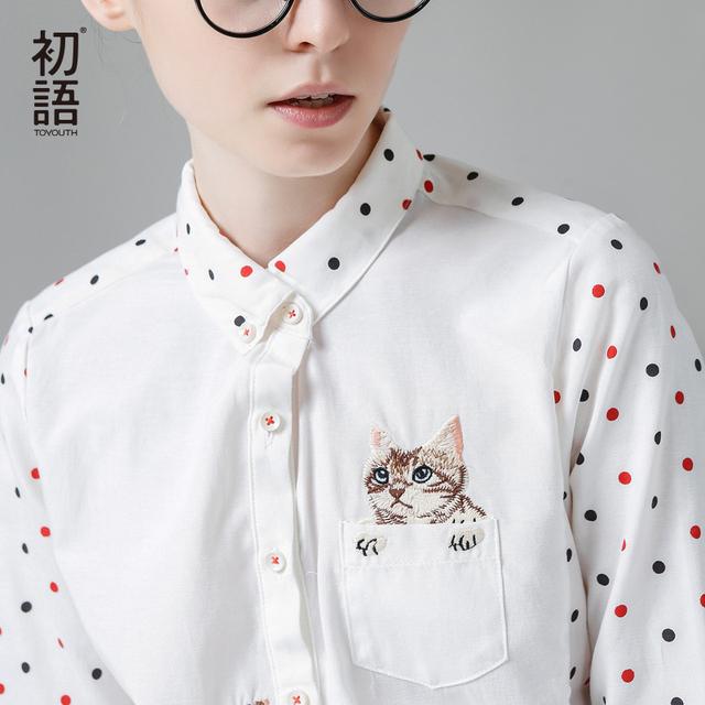 Toyouth Novo Inverno Chegada Camisa Turn-Down Collar Blusas Das Senhoras Longo-Luva Shirt Fêmea Polka Dot Com Gato bordado