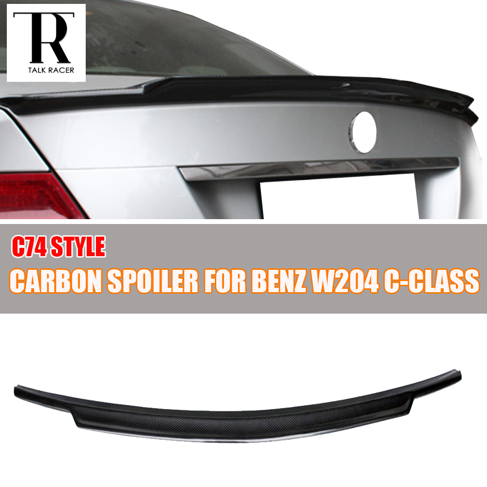 C74 Style W204 Carbon Fiber Rear Wing Spoiler for Mercedes Ben W204 C200 C250 C300 C350 C63 AMG 4 Door Sedan Only 2007 - 2013 w204 c180 c200 c260 c300 carbon fiber car rear trunk lip spoiler wing for mercedes benz w204 c63 4 door 2008 2013 amg style