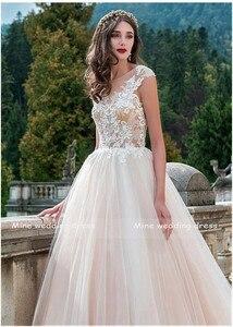 Image 3 - Vintage Scoop Boyun Gelinlikler Vestido de Novia Robe de Mariee Bir Çizgi Illusion Gelin Elbise Dantel Aplikler düğün elbisesi