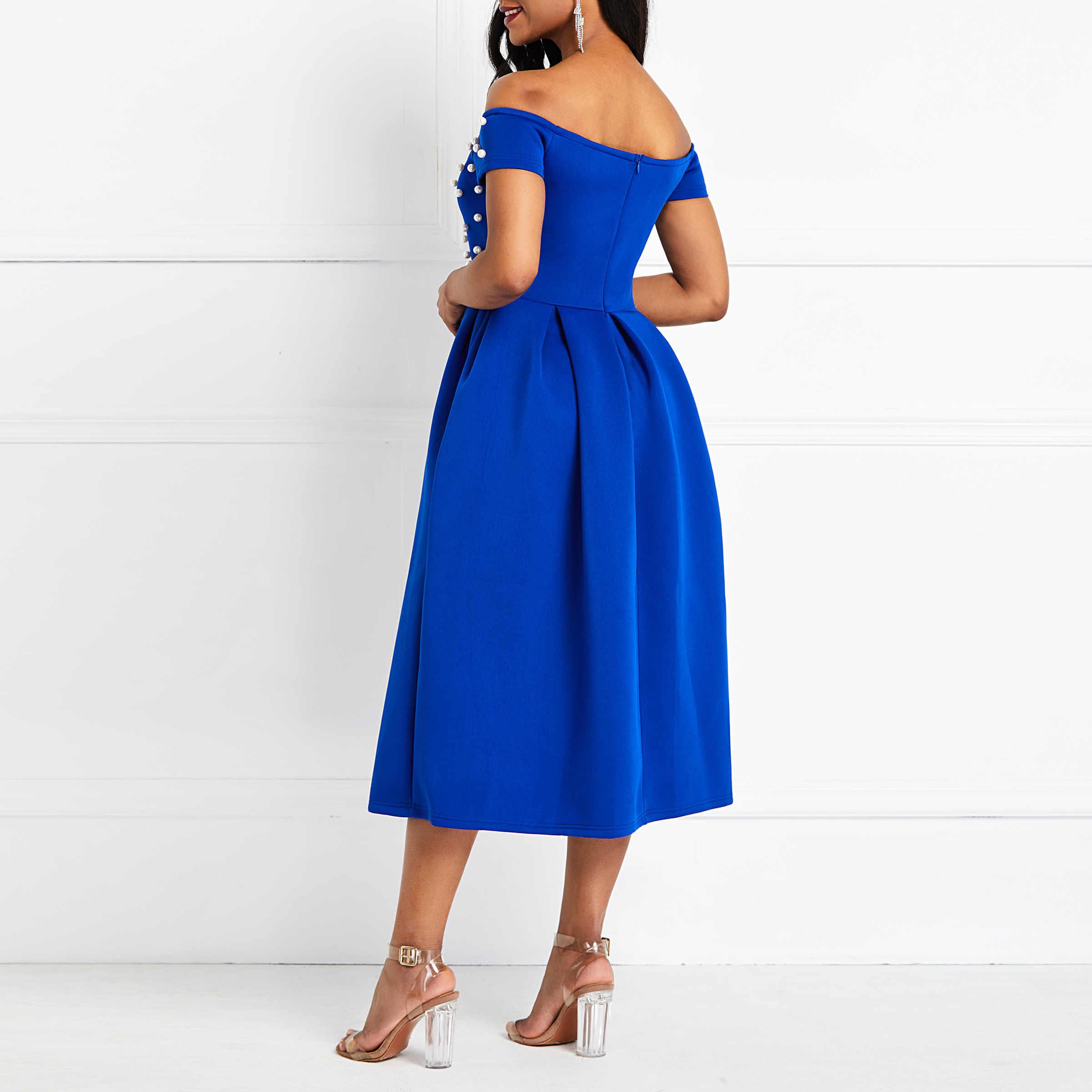 Seksi Kulübü Parti Zarif OL Bayan Streetwear Sonbahar Kadın Elbiseler Mavi Artı Boyutu Kapalı Omuz Boncuk Kadın Moda Inci Elbise