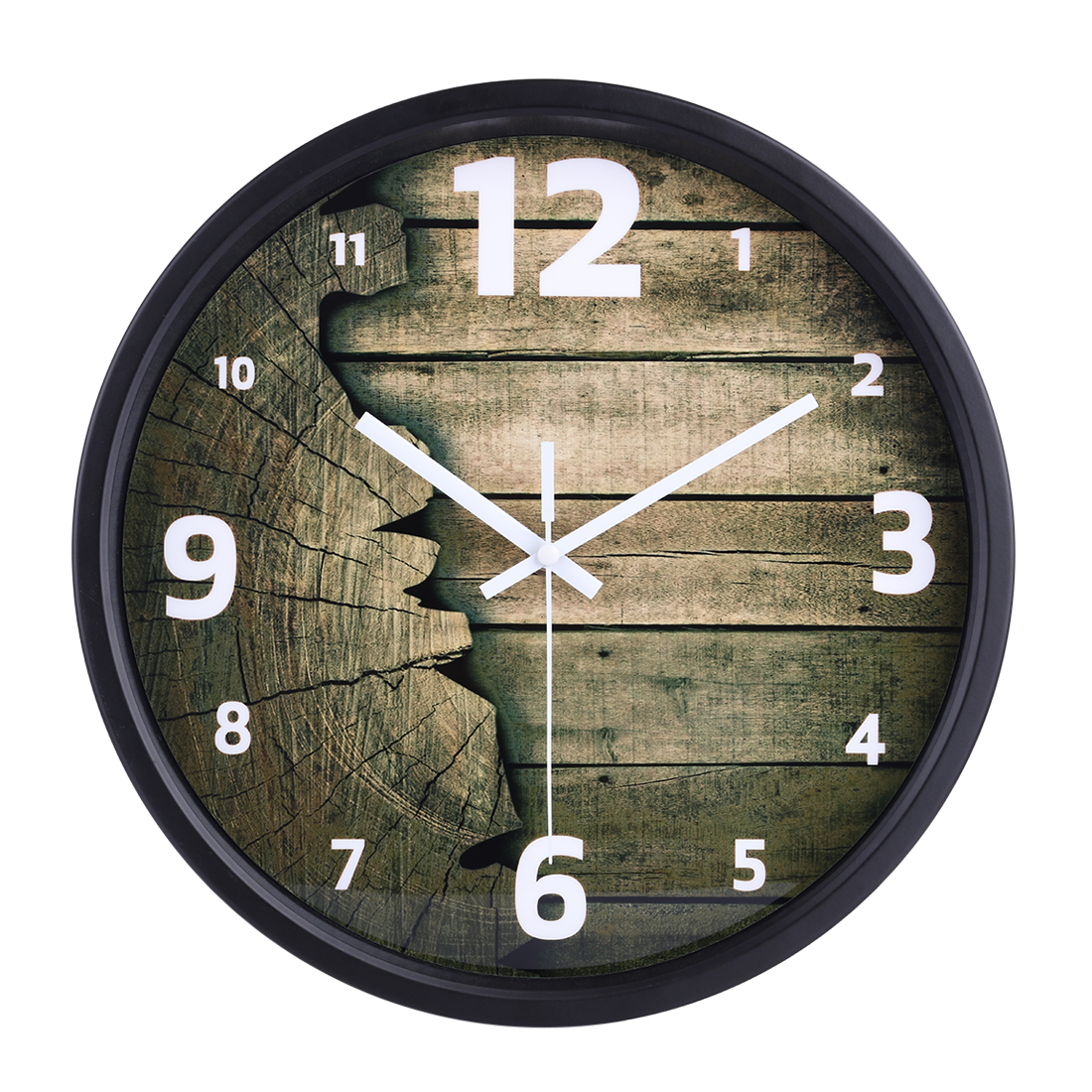 12 Inch Imitation Wood Grain Silent Wall Clock With Black Frame For Home Decor Beautiful Wall Hanging Clocks Timer Drop Shipping