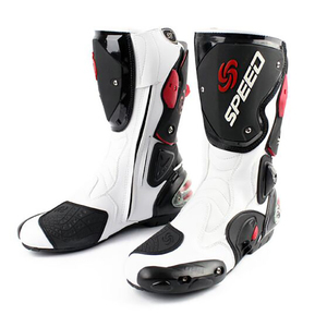 Image 3 - Motorcycle boots men speed 4 seasons Protective Gears moto shoes Black red white motorcycling boot motocross boots