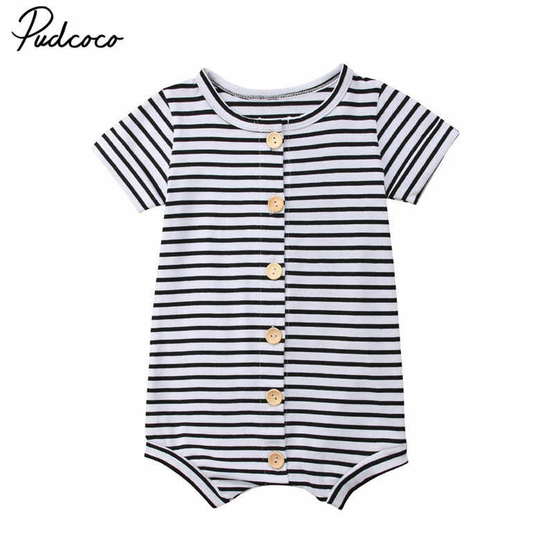 76264aa92d74 2018 Newborn Infant Baby Boys Girls Toddler Black White Striped Romper  Jumpsuit Cotton Summer Button Casual