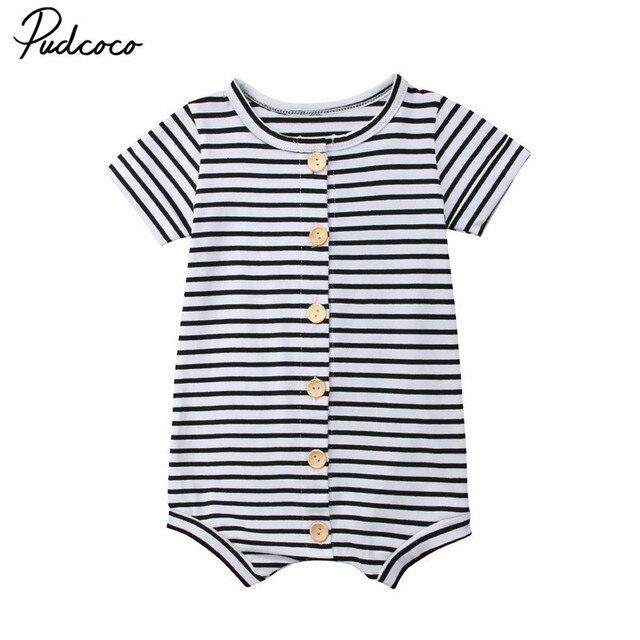 9349c0b73 2018 Newborn Infant Baby Boys Girls Toddler Black White Striped ...
