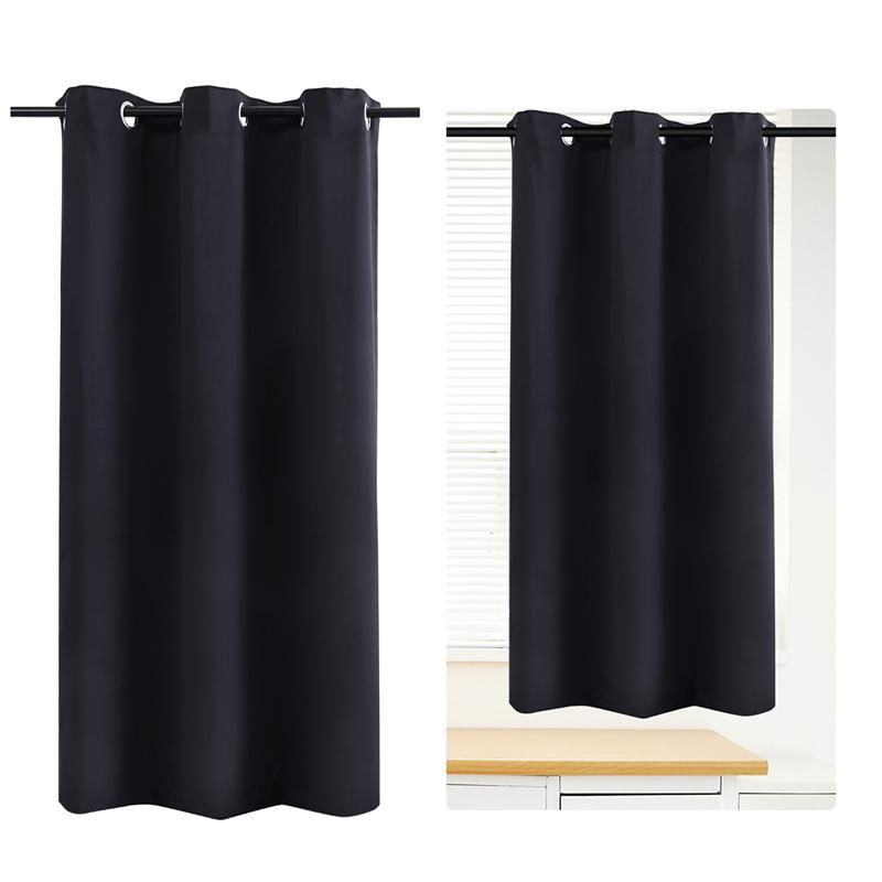 WINOMO Blackout Curtain Room Darkening Thermal Insulated Grommet Drape for Living Room Bedroom 42 x 67 Inch (Black)