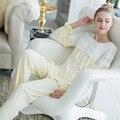 Novas Chegadas Mulheres Conjuntos de Pijama de Algodão Do Vintage Botão Lace Pijamas Lar Roupa Pijama Femme Mujer Doce Princesa Sleepwear # L41