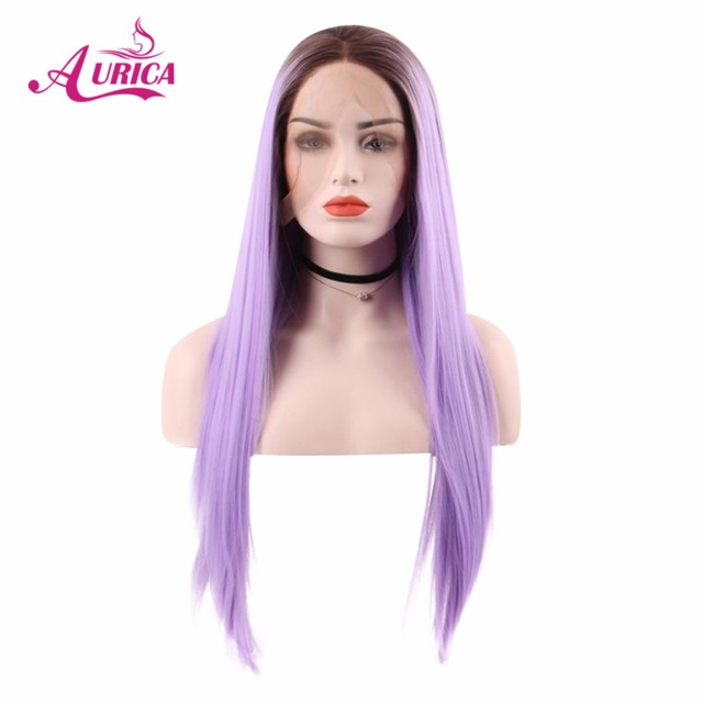 Aurica Straight Ombre Purple Heat Safe Synthetic Hair Lace Front Wig With Brown Roots For Women