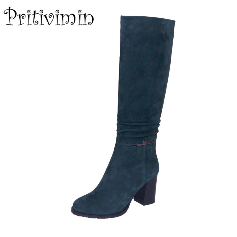 2017Fashion winter women botas mujer shoes Ladies suede leather bottes femmes girls velvet lining long boots Pritivimin FN17 2017 fashion women boots botas mujer zapatos mujer ankle boots for women thigh high boots chaussure femme bottes femmes 2016