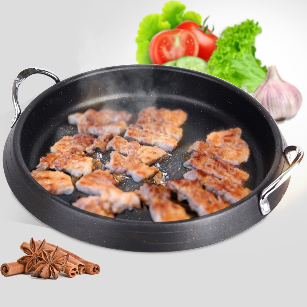 все цены на Non-stick Multifunctional Barbecue Roast Pan Smokeless Frying Pan 28cm ID BBQ Grill Plate Suit For Electromagnetic Furnace