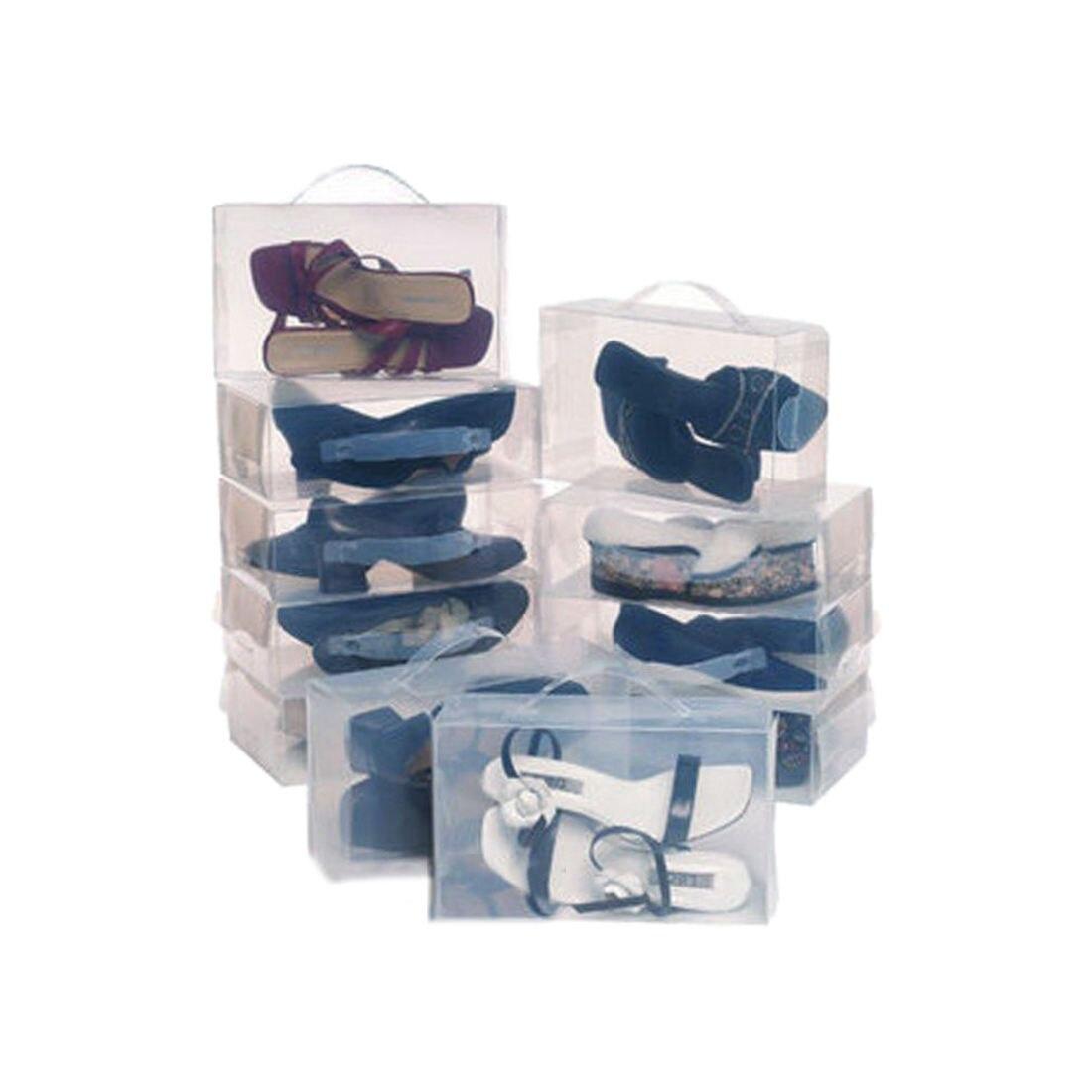 22 Ladies Mens Stackable Plastic Clear Shoe Box Boxes Storage Organiser Foldable Transparent color