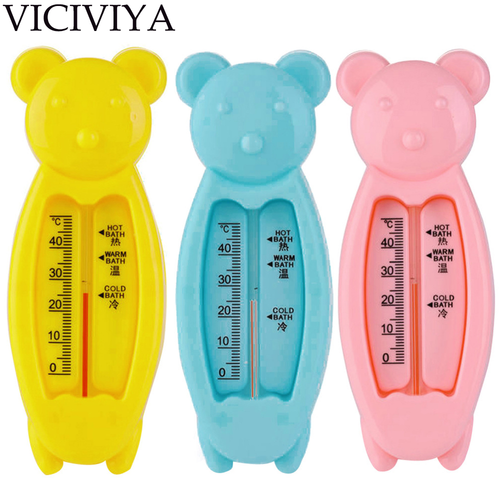 VICIVIYA Baby Bear Shape Lovely Plastic Float Bath Tub Water Sensor Thermometer Baby Bathing Play Toys Bath Thermometers