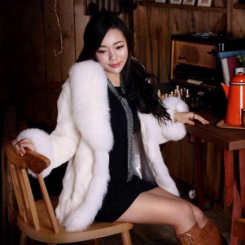 Vêtements De Haute Nouvelle Renard S Femmes Faux Dames 6xl Manteau Fourrure Vison Blanc Mode D'hiver Imitation 7WWxFn