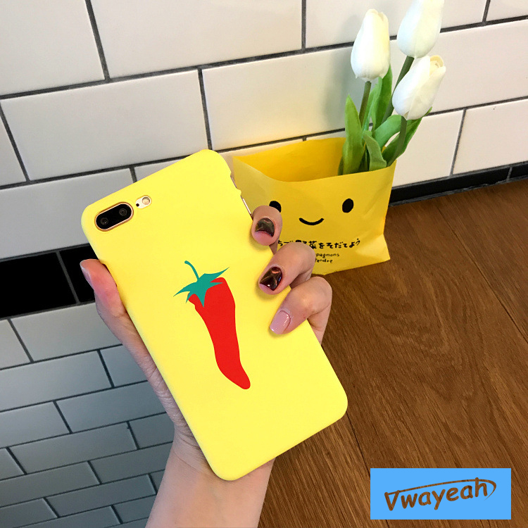 Ins hot Simpleness Creatively Cartoon Green Leaves Red Hot Pepper Fresh Leaf Orange Carrot Case For iPhone x 10 6 7 8 Plus
