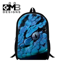 Dispalang 2017 Blue Snake 3D Printed bookbags for primary student,girls cute school backpacks pattern fashion back pack women