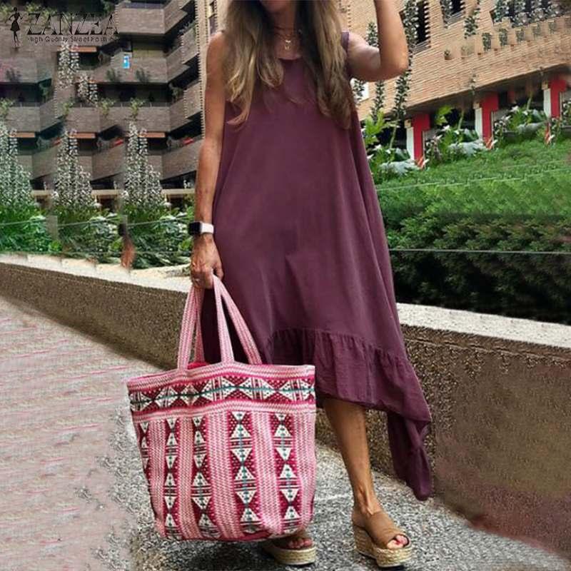2019 Fashion Women's Dress Summer Sundress ZANZEA Sleeveless Irregular Ruffles Hem Vestidos Cotton Linen Bohemian Beach Dresses