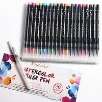 20 Color Watercolor Copic Markers Pen Premium Painting Soft Brush Pen Set Coloring Books Manga Comic