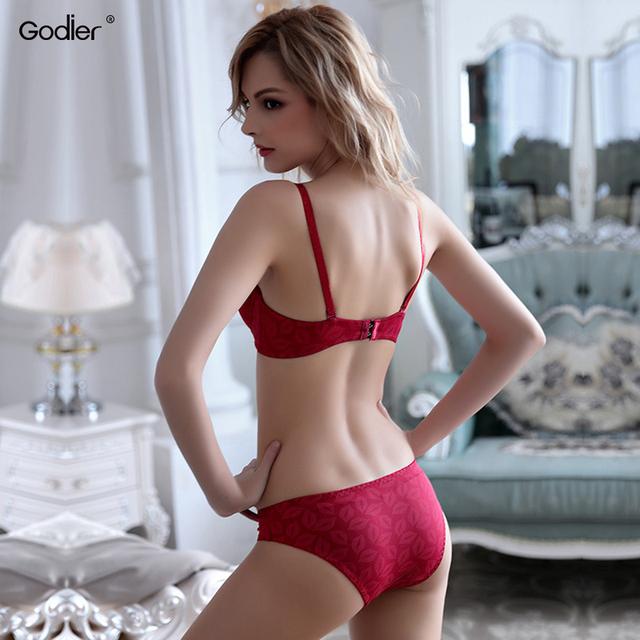 Godier Sexy Lace Bra Brief Set Embroidery Women Underwear Push Up Bralette BH gather Brassiere Top Lingerie Set ABC Cup Vest