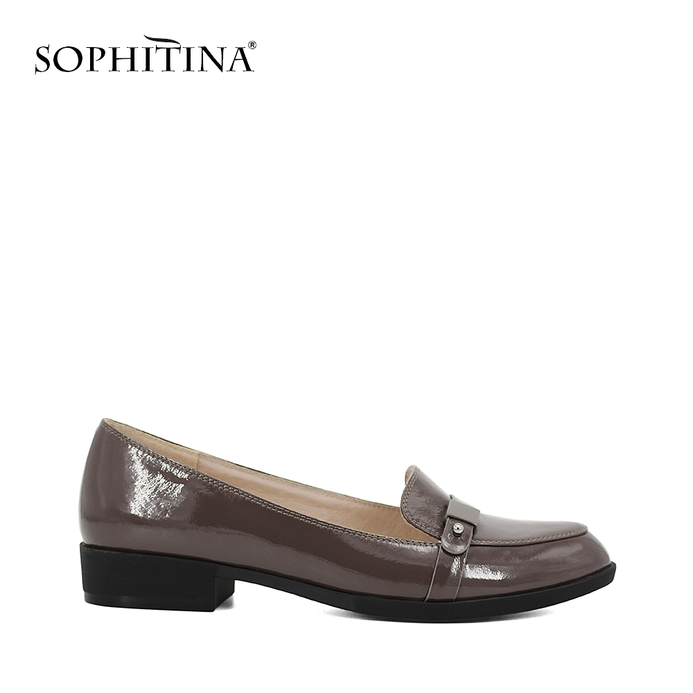 SOPHITINA Low heels Square heels pumps Metal decoration Casual Round Toe high quality Black Gray Patent Leather woman shoes D026 doorfix d026