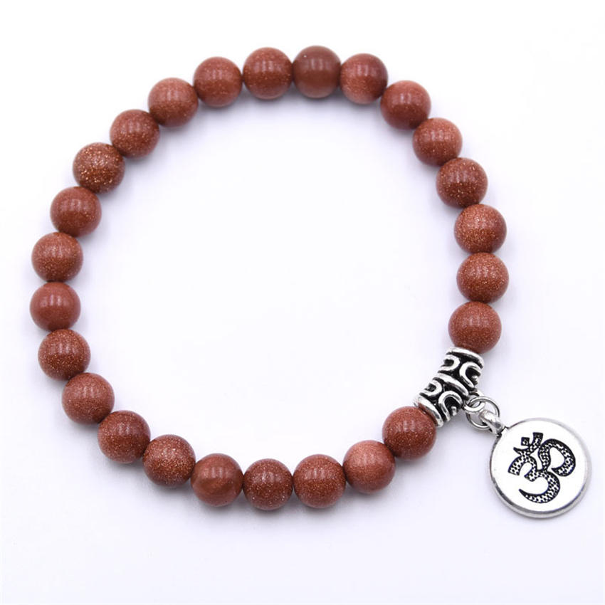 Natural Stone Strand Bracelet Yoga Chakra Mala Bracelet OM Lotus Women Men Beaded Charm Bracelet Jewelry Pulseras dropshipping - Окраска металла: ZT110-14