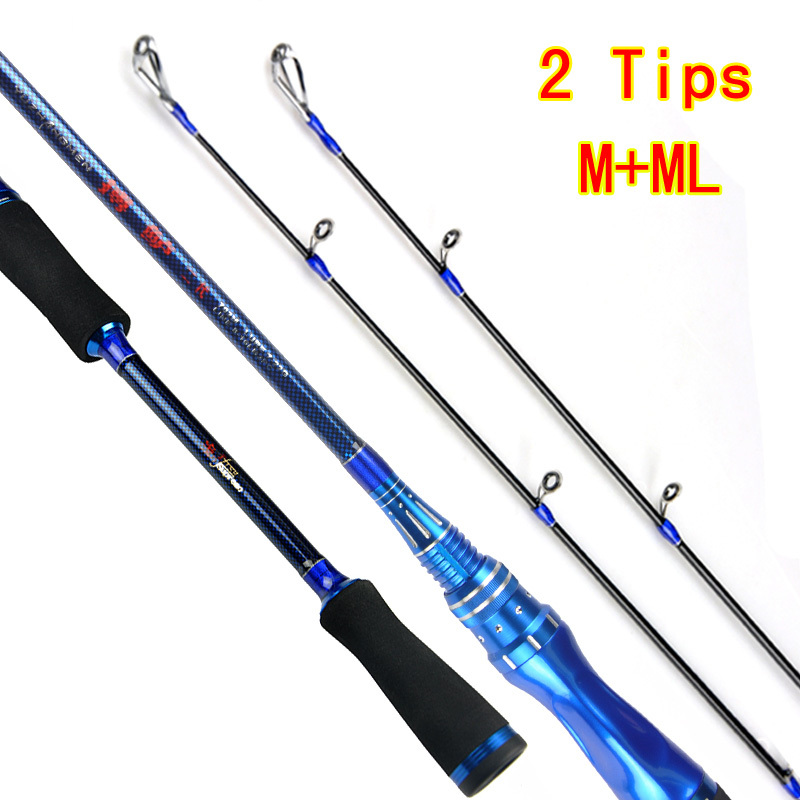 2Tips M+ML Action 2.1m Carbon Spinning Fishing Rod Lure Rod Metal Reel Seat Two Tips Strong Action Pesca Fishing Tackles