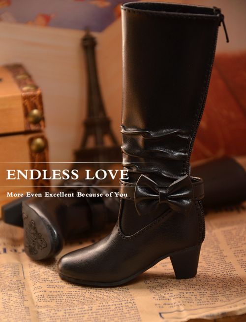 Fashion Bow Black Boots for BJD Girl Doll 1 4 MSD 1 3 SD10 SD13 Super