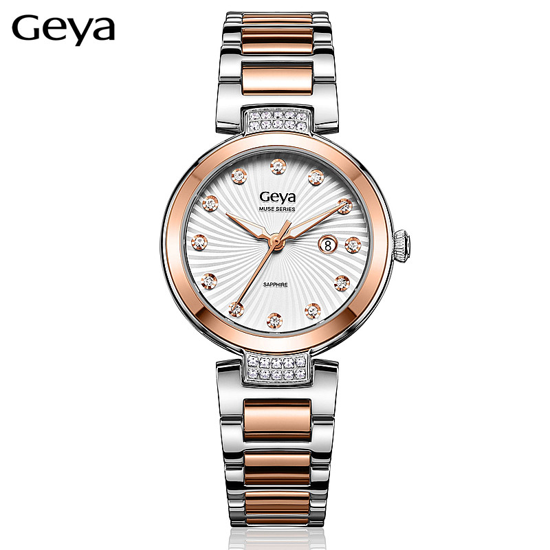 Geya Japanese MiyotaGL10 Movement Fashion Diamonds Female Watch Luxury Brand Gold Steel Women Wristwatch Dress Lady Quartz Clock rhinestone sk top luxury brand steel quartz watch fashion women clock female lady dress wristwatch gift silver gold motre femme