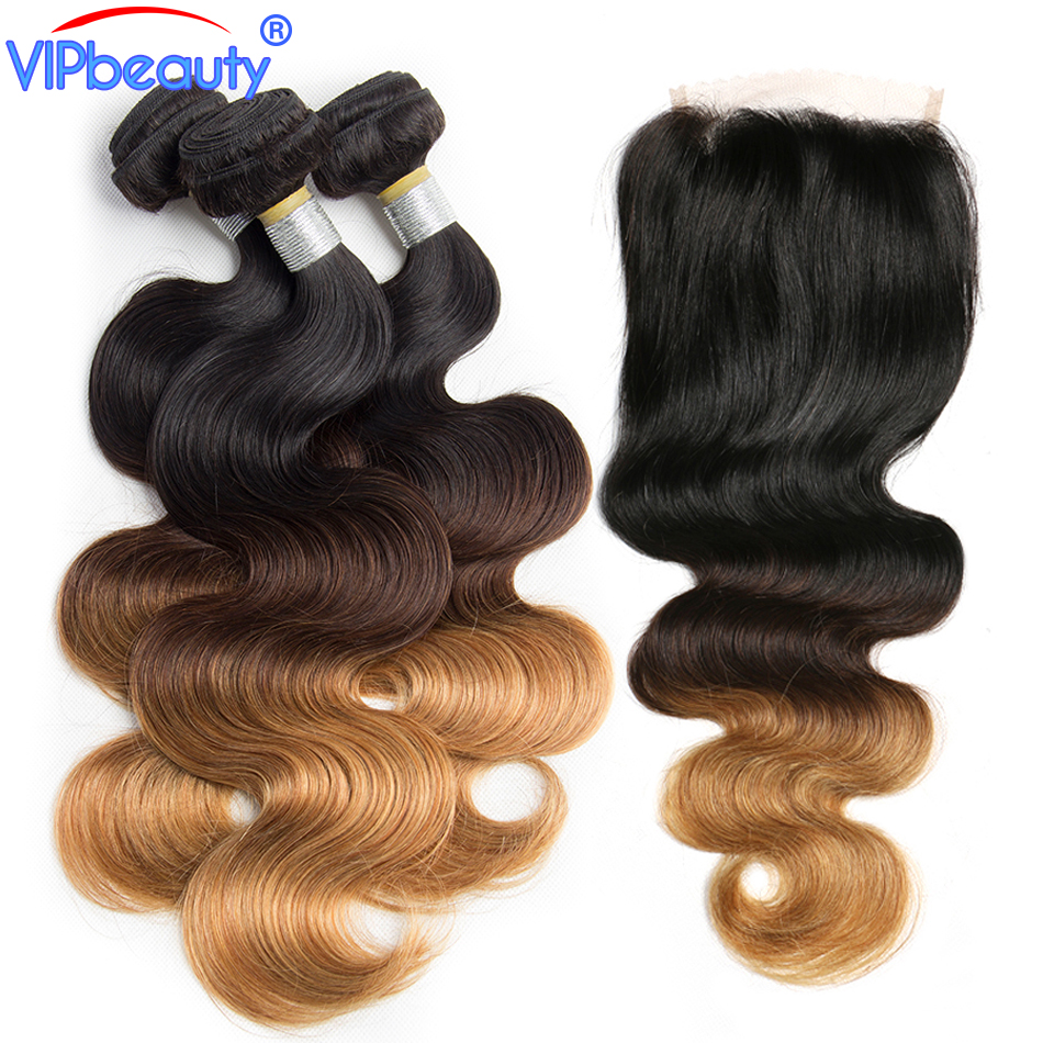 Vip beauty ombre bundles with closure Brazilian body wave non remy hair extension human hair 3 bundles with closure #1b/4/27