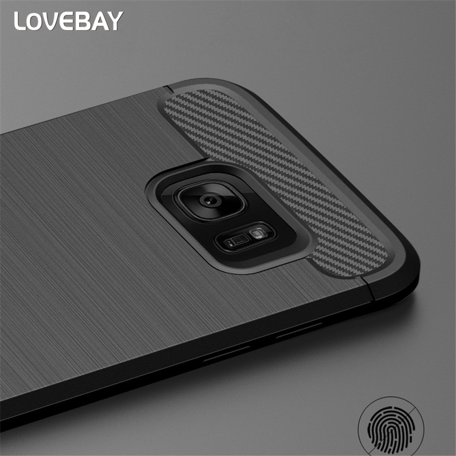 Shockproof Phone Case For Samsung Galaxy S6 S6 Edge S7 S7 Edge S8 S9 Plus S10 S10E S10 Plus Carbon Fiber TPU Drawing Phone Case