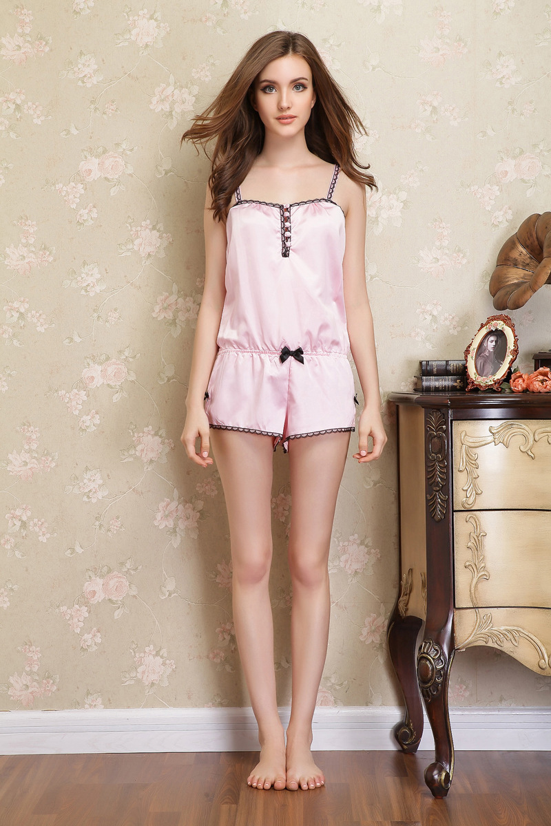Female summer pajamas female models sexy camisole piece tracksuit pants  suit woman women pink Pyjamas-in Pajama Sets from Underwear   Sleepwears on  ... 56d8840db