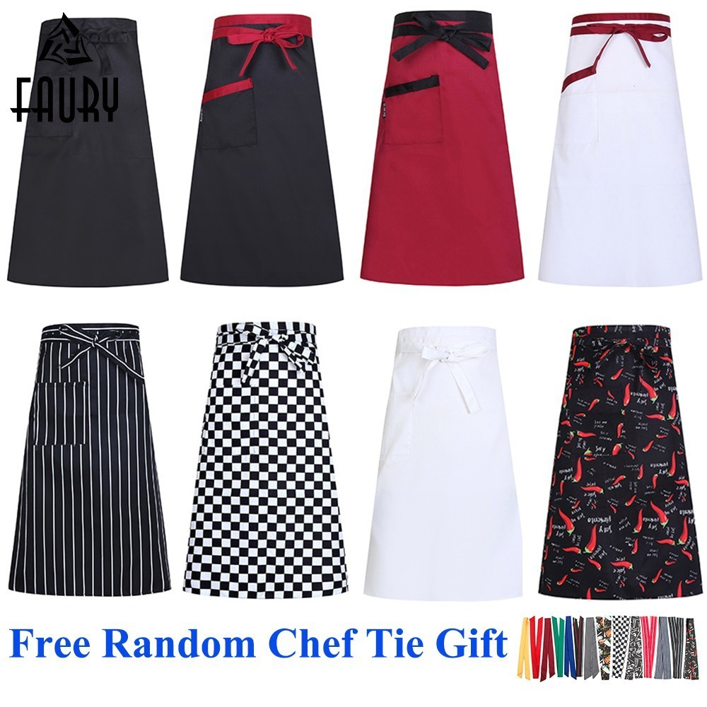 2019 Chef Apron Kitchen Cooking Aprons Work Dining Half-length Food Service Catering Chefs Hotel Waiters Uniform Free Scarf Gift